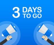 3 días a ir icono plano en fondo azul Bandera para el negocio, el márketing y la publicidad Ilustración del vector stock de ilustración