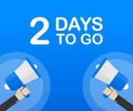 2 días a ir icono plano en fondo azul Bandera para el negocio, el márketing y la publicidad Ilustración del vector libre illustration