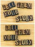 Dígales sus letras de la prensa de copiar de la historia fotos de archivo