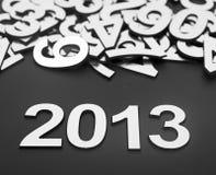Dígito 2013 y números al azar de la pila Foto de archivo libre de regalías