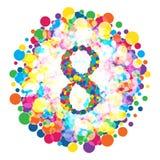Dígito 8 ao estilo do teste padrão colorido dos pontos Imagem de Stock