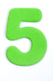 Dígito cinco da espuma foto de stock