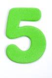 Dígito cinco de la espuma foto de archivo