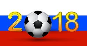 Dígito da bola de futebol em 2018 no fundo da bandeira do russo Imagem de Stock