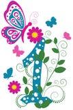 Dígito divertido 1 con las mariposas ilustración del vector