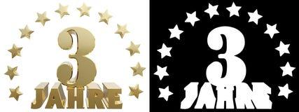 Dígito dourado três e a palavra do ano, decorada com estrelas Traduzido do alemão ilustração 3D Imagens de Stock