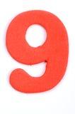 Dígito nueve de la espuma Fotos de archivo libres de regalías