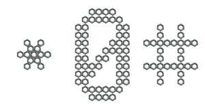 Dígito nuts 0, símbolos del tornillo industrial # y * Imagen de archivo