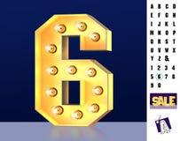 Dígito que brilla intensamente 6 ilustración del vector