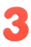 Dígito tres de la espuma imagenes de archivo