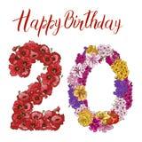 Dígito veinte hecho de diversas flores en el fondo blanco Inscripción del feliz cumpleaños Ilustración del vector ilustración del vector