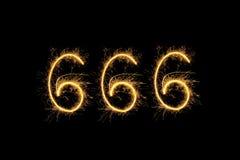 Dígitos chispeantes 666 foto de archivo libre de regalías