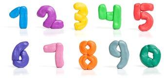 Dígitos coloridos do plasticine foto de stock