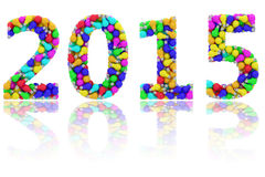 2015 dígitos compostos de ampolas coloridas no branco lustroso Imagem de Stock Royalty Free