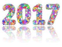 2017 dígitos compostos de estrelas coloridas no fundo branco lustroso ilustração royalty free