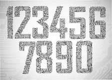 Dígitos da placa de circuito Imagens de Stock Royalty Free
