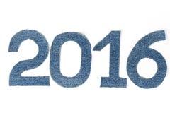 Dígitos 2016 da sarja de Nimes no fundo claro fotos de stock