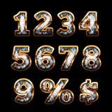 Dígitos do diamante e do ouro Imagem de Stock Royalty Free