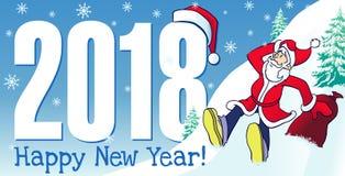 2018 dígitos e de moderno de Santa cartão do ano novo feliz Foto de Stock