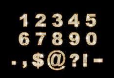 Dígitos e sinais brilhantes no fundo escuro Imagens de Stock Royalty Free