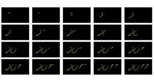 Dígitos luminosos 2017 da animação Fotos de Stock Royalty Free