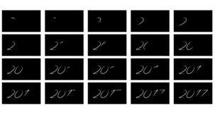 Dígitos luminosos 2017 da animação Fotografia de Stock