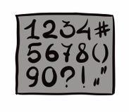 Dígitos. mano dibujada. Diseño del vector. Eps8 Imágenes de archivo libres de regalías