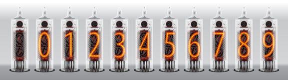 Dígitos na exposição do tubo de vácuo do vintage ilustração stock