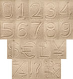 Dígitos, pontuação e símbolos de moeda da areia fotos de stock