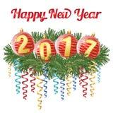 Dígitos vermelhos 2017 do witn das bolas do Natal que colocam no ramo das coníferas com a serpentina, isolada no fundo branco Ilu Imagens de Stock