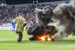 Dínamo ucraniano Kyiv - Shakhtar Donetsk, M del partido de liga primera Fotografía de archivo