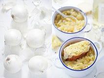 Díptica de la cebolla blanca y de la sopa francesa de la cebolla con los cuscurrones Fotografía de archivo