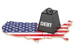 Dívida pública do Estados Unidos ou défice orçamental, crise financeira ilustração royalty free