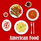 Dîner américain avec l'icône grillée de viande et de piments Illustration Libre de Droits