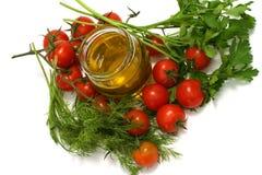 Dîner avec l'huile d'olive images libres de droits