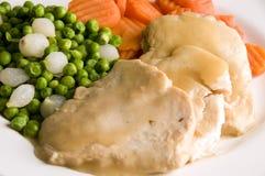 Dîner découpé en tranches de poulet de viande blanche images libres de droits