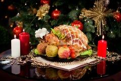 Dîner d'an neuf de Noël Photos stock