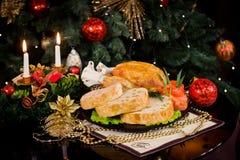 Dîner d'an neuf de Noël Photos libres de droits