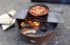 Dîner de camping Photo libre de droits