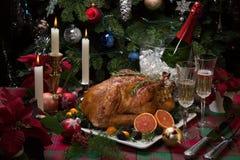 Dîner de la Turquie de Noël avec Champagne photo stock