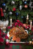 Dîner de la Turquie de Noël avec Champagne image stock