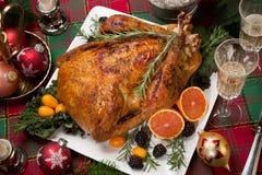 Dîner de la Turquie de Noël avec Champagne photos libres de droits
