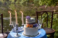 Dîner de mariage romantique, en parc par l'eau Un bon nombre de vert Tableau pour un dîner de mariage romantique, date Le parc pa Photographie stock