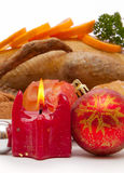 Dîner de Noël. Canard de rôti Image libre de droits