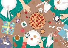 Dîner de Noël sur la conception en bois de vecteur de table Image libre de droits
