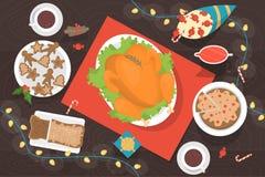 Dîner de Noël sur la vue supérieure de table illustration de vecteur