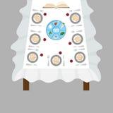 Dîner de pâque, pesach de seder table avec le plat de pâque et la nourriture traditionnelle illustration de vecteur