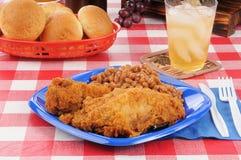 Dîner de pique-nique de poulet frit image stock