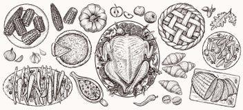 Dîner de thanksgiving, vue supérieure Illustrations réalistes de vecteur de nourriture Images stock