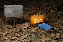 Dîner effrayant de potiron tard la nuit Photo libre de droits